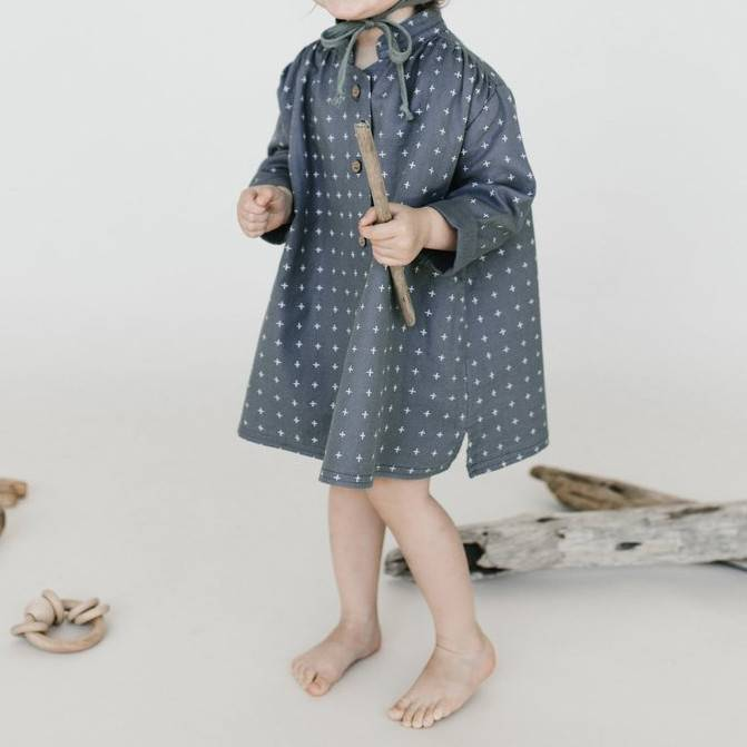 Rylee + Cru Rylee + Cru Cross Print Button Shirt Dress