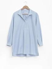 Sleep Shirt Sleep Shirt Short Blue Oxford Stripe