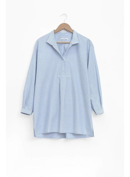 Sleep Shirt Sleep Shirt Short Blue Oxford Stripe