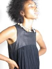 Hazel Brown Hazel Brown Leather & Gauze Dress