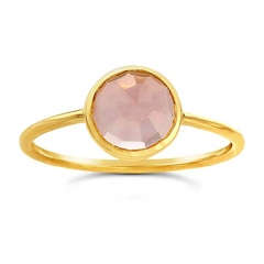 Ws House WS 14k Rose-cut  Rose Quartz Ring 7