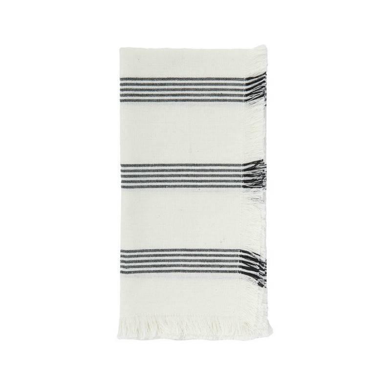 Napkin Stripe Fringe Black