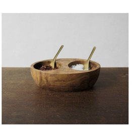 Rosewood Salt & Pepper Cellar with Brass Spoons