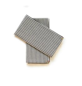 Napkin Set Black Broad Stripe