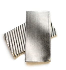 Napkin Set Black Pinstripe