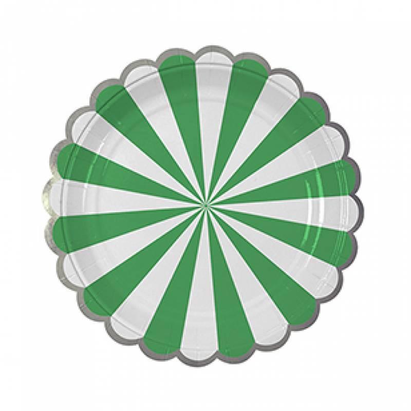 Meri Meri Green Stripe Plate Small