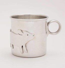 Beehive Handmade Pewter Baby Cup Pig