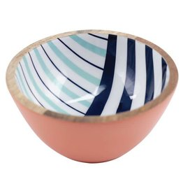 Floor 9 Navy Stripe Mango Wood Bowl Small