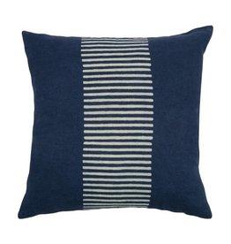 """Sir Madam Center Stripes 18"""" Indigo Pillow"""