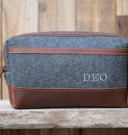 Grey Felt/Leather Dopp Kit