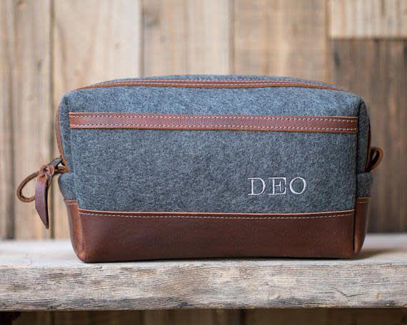 Grey Felt/Leather Dopp Kit