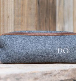 Grey Felt/Leather Shave Bag
