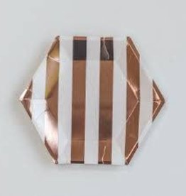 Rose gold striped plate, small