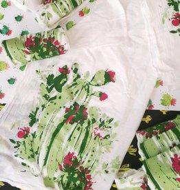 Pink Puddle Studio Triple Blooms Tea Towel
