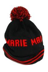 Tuque à pompon noire et rouge Marie Mai