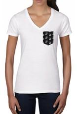 """La Voix T-Shirt La Voix Femme """"Fashion"""" col V Blanc/Noir"""