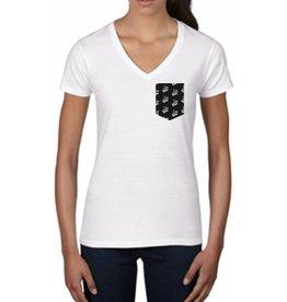 """La Voix #3 T-Shirt La Voix Femme """"Fashion"""" col V Blanc/Noir"""