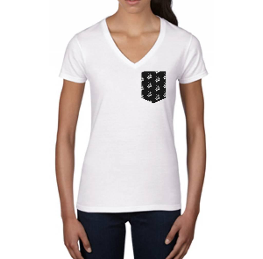 """T-Shirt La Voix Femme """"Fashion"""" col V Blanc/Noir"""