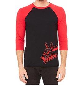 La Voix #1 Baseball T-Shirt La Voix Unisexe à Manche 3/4 Noir/Rouge
