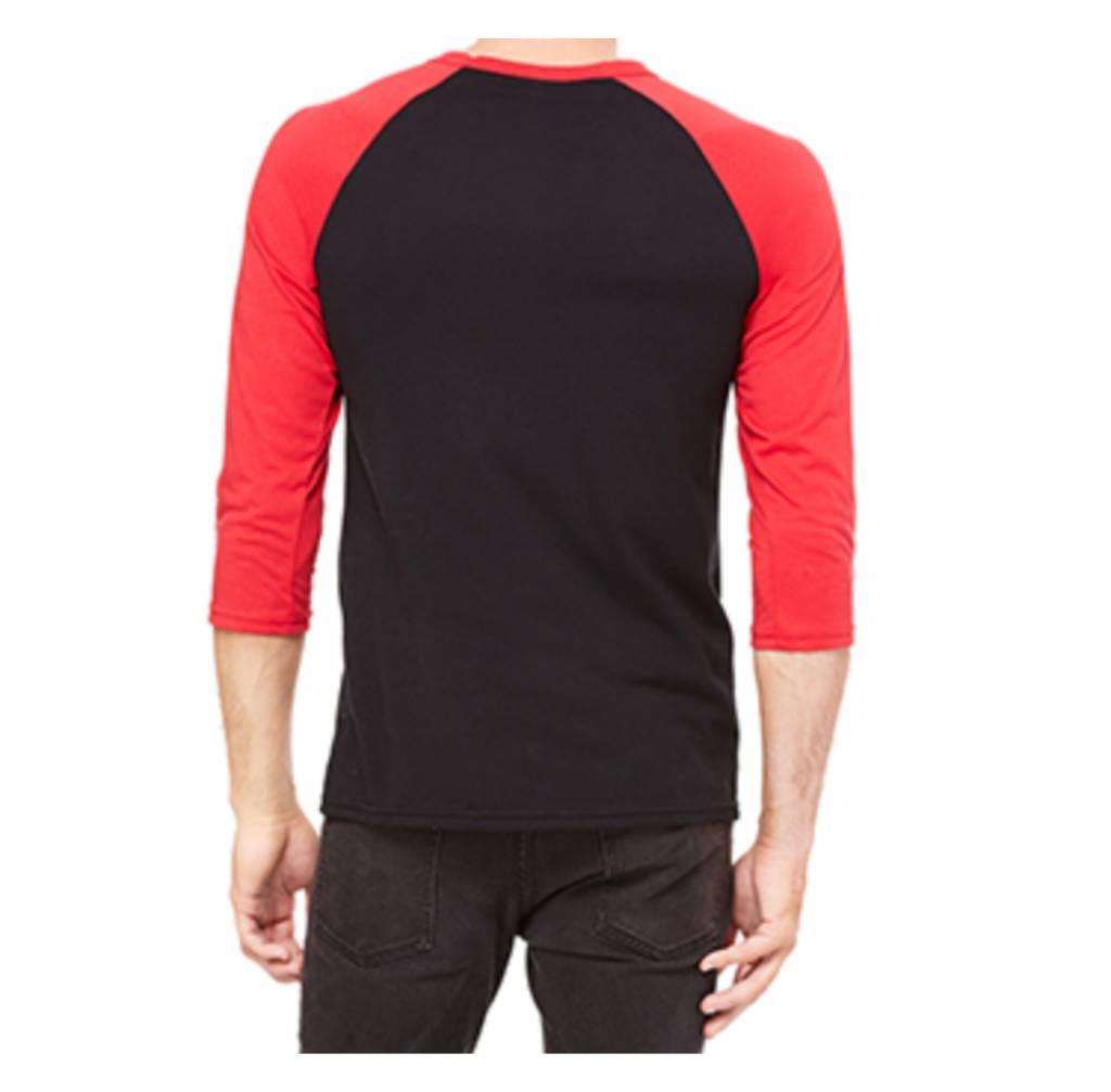 La Voix Baseball T-Shirt La Voix Unisexe à Manche 3/4 Noir/Rouge