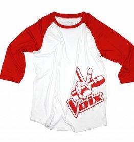 La Voix Baseball T-Shirt La Voix Enfant  à Manche 3/4 Blanc/Rouge
