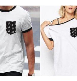 """T-Shirt La Voix  Unisexe Léger """"Ringer"""" Blanc/Noir"""