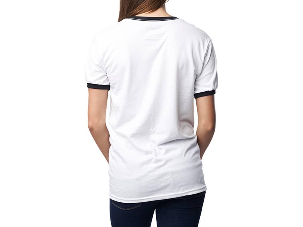 """La Voix T-Shirt La Voix Unisexe Léger """"Ringer"""" Blanc/Noir"""