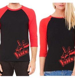 Baseball T-Shirt La Voix Unisexe à Manche 3/4 Noir/Rouge