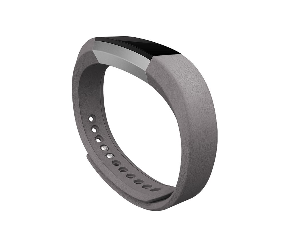 Fitbit Alta Accessory Band Leather Graphite Large Metal Bracelet