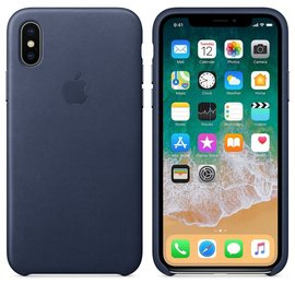 Apple Apple Leather Case for iPhone X - Midnight Blue (ATO)