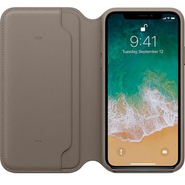 Apple Apple Leather Folio Case for iPhone X - Taupe