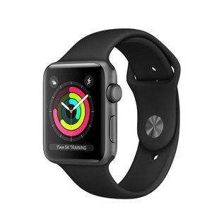 Apple Apple Watch Series 3 (GPS), 42mm Space Gray Aluminum Case with Black Sport Band 140-210mm