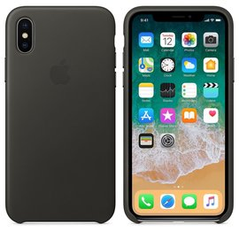 Apple Apple Leather Case for iPhone X - Charcoal Gray (WSL)
