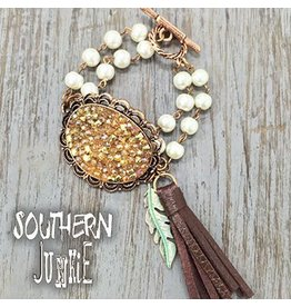 Southern Grace Pendant Bracelet with Leather Tassel and Arrow Charm