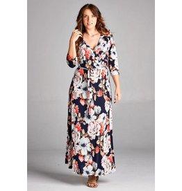Tua Navy Floral Wrap Dress