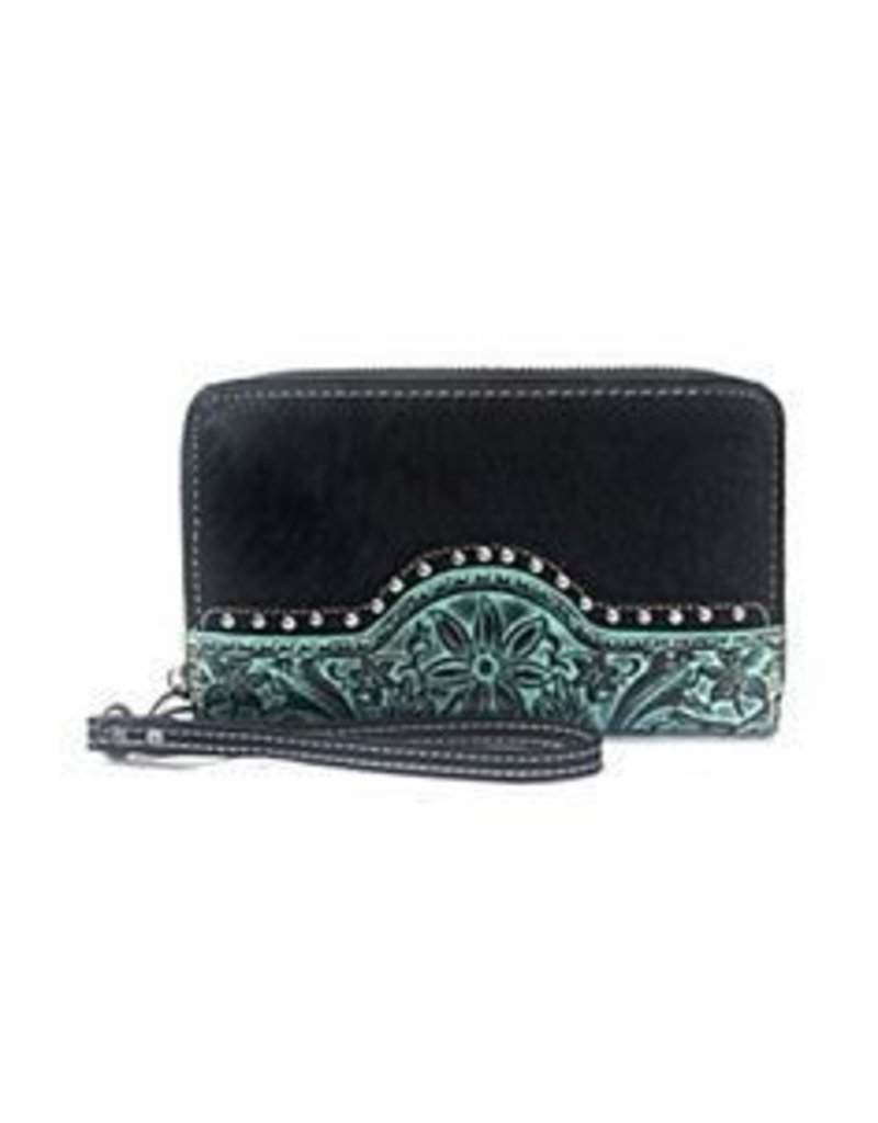 Montana West Trinity Ranched Tooled Wallet Teal Accent