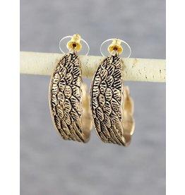 Long Feather Drop Earrings Gold
