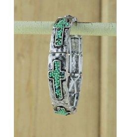 Crystal Cross Hammered Stretch Bracelet