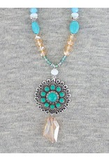 Multi Jeweled Necklace with Crystal Drop