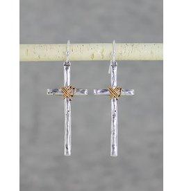Wire Wrapped Cross Earrings