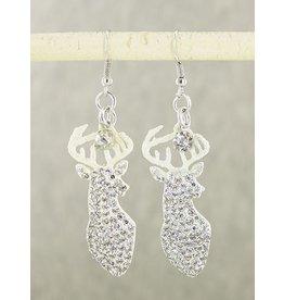 White Sparkly Deer Earrings