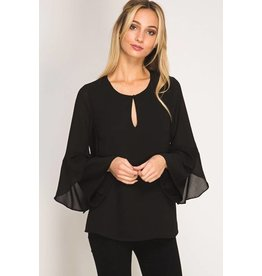 BLACK BLOUSE WITH LAYERED SLEEVES