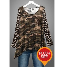 Camouflage Body Animal Print Sleeve with Sequin Pocket Top