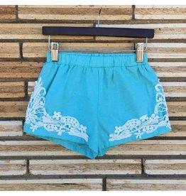Mint Crochet Detail Kids Shorts