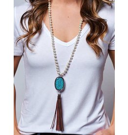 Southern Grace Turquoise Pendant on Pearl Necklace Tassel