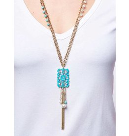 Floral Square on Long Necklace with Chain Tassels