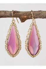 Purple Oval Drop Earrings