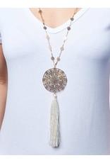 Long Medallion Tassel Necklace
