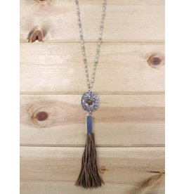 Trendy Crystallized Oval Pendant with Leather Tassel Necklace