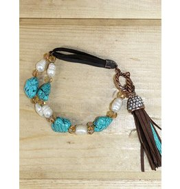 Southern Grace Stone and Pearl Beaded Multi-Strand Bracelet with Tassel